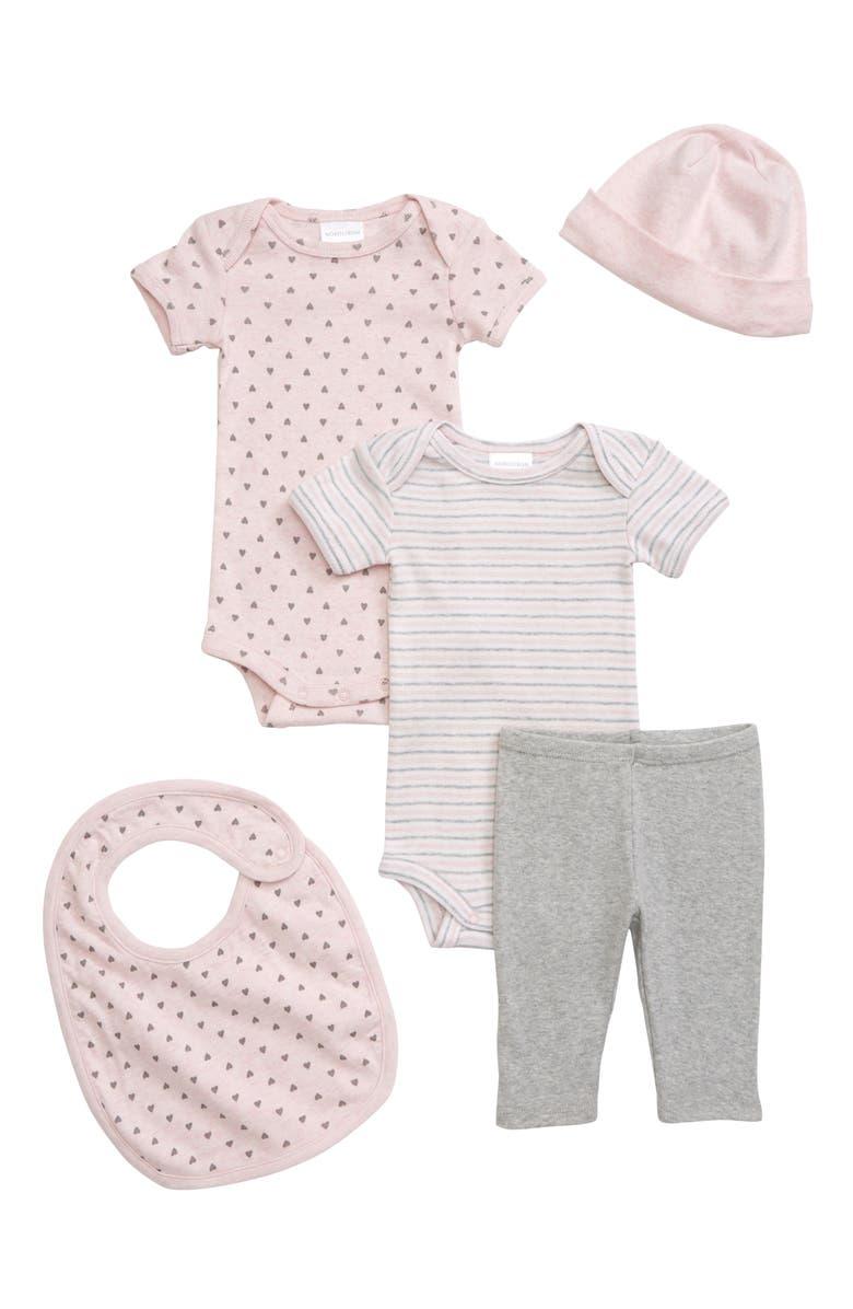 NORDSTROM BABY 5-Piece Bodysuits, Leggings, Hat & Bib Set, Main, color, PINK BABY HEATHER