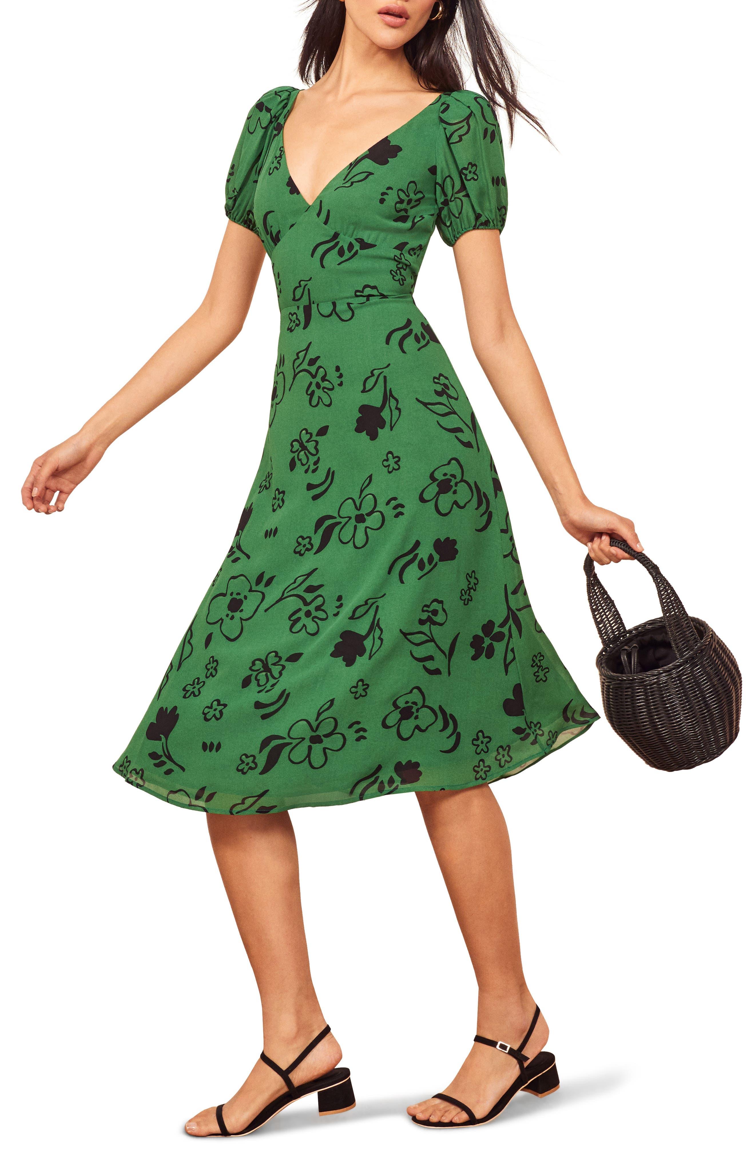 Reformation Kacey Print Puff Sleeve Midi Dress, Green