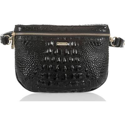 Brahmin Croc Embossed Leather Belt Bag - Black