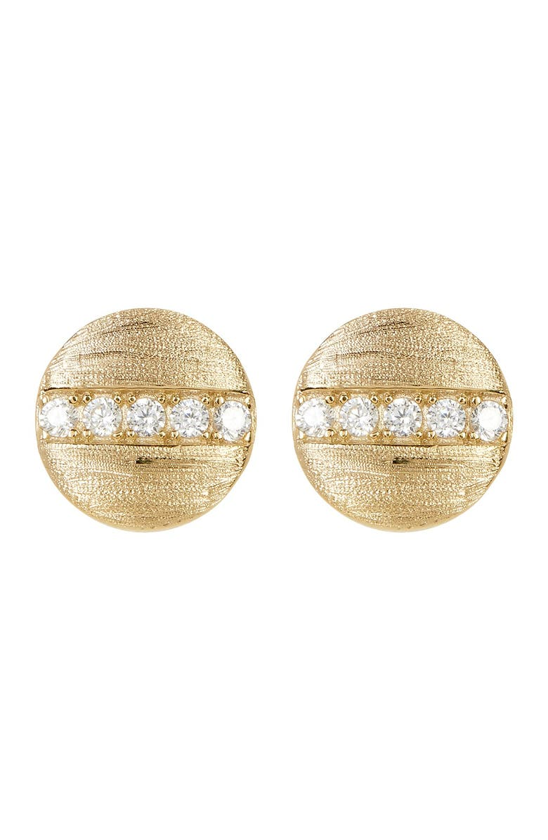 ADORNIA 14K Gold Plated Swarovski Crystal Accented Coin Stud Earrings, Main, color, YELLOW