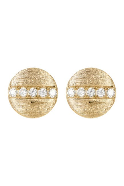 Image of ADORNIA 14K Gold Plated Swarovski Crystal Accented Coin Stud Earrings