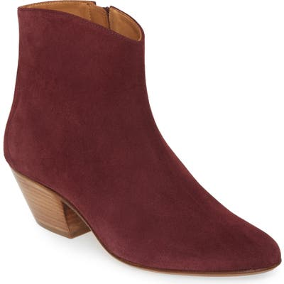 Isabel Marant Dacken Stacked Heel Bootie, Red