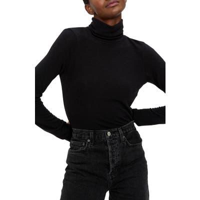 Michael Stars Jojo Side Ruched Turtleneck Sweater, Black