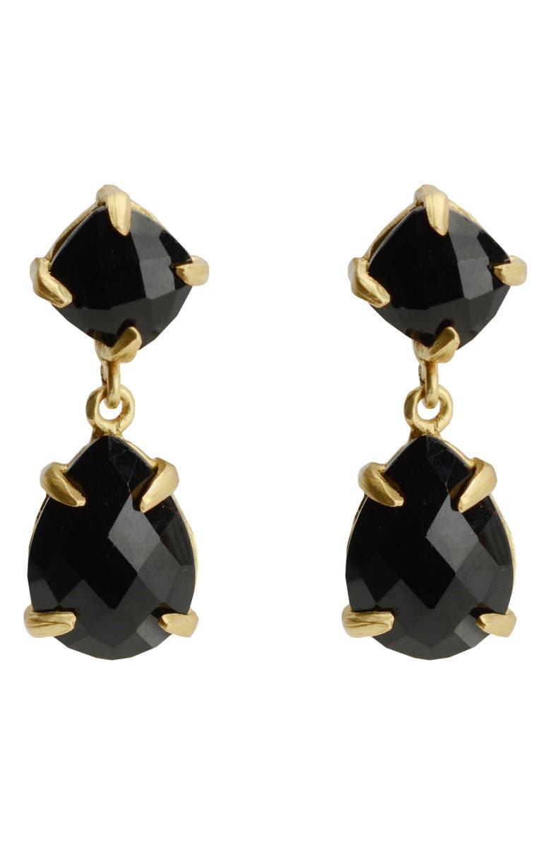 KAREN LONDON Deo Drop Earrings, Main, color, BLACK/ GOLD