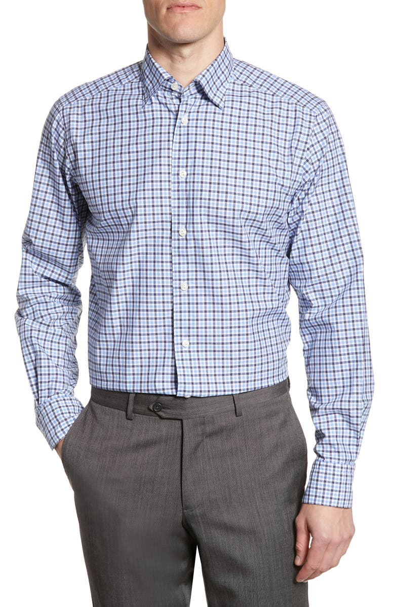 ETON Soft Collection Contemporary Fit Check Shirt, Main, color, BLUE