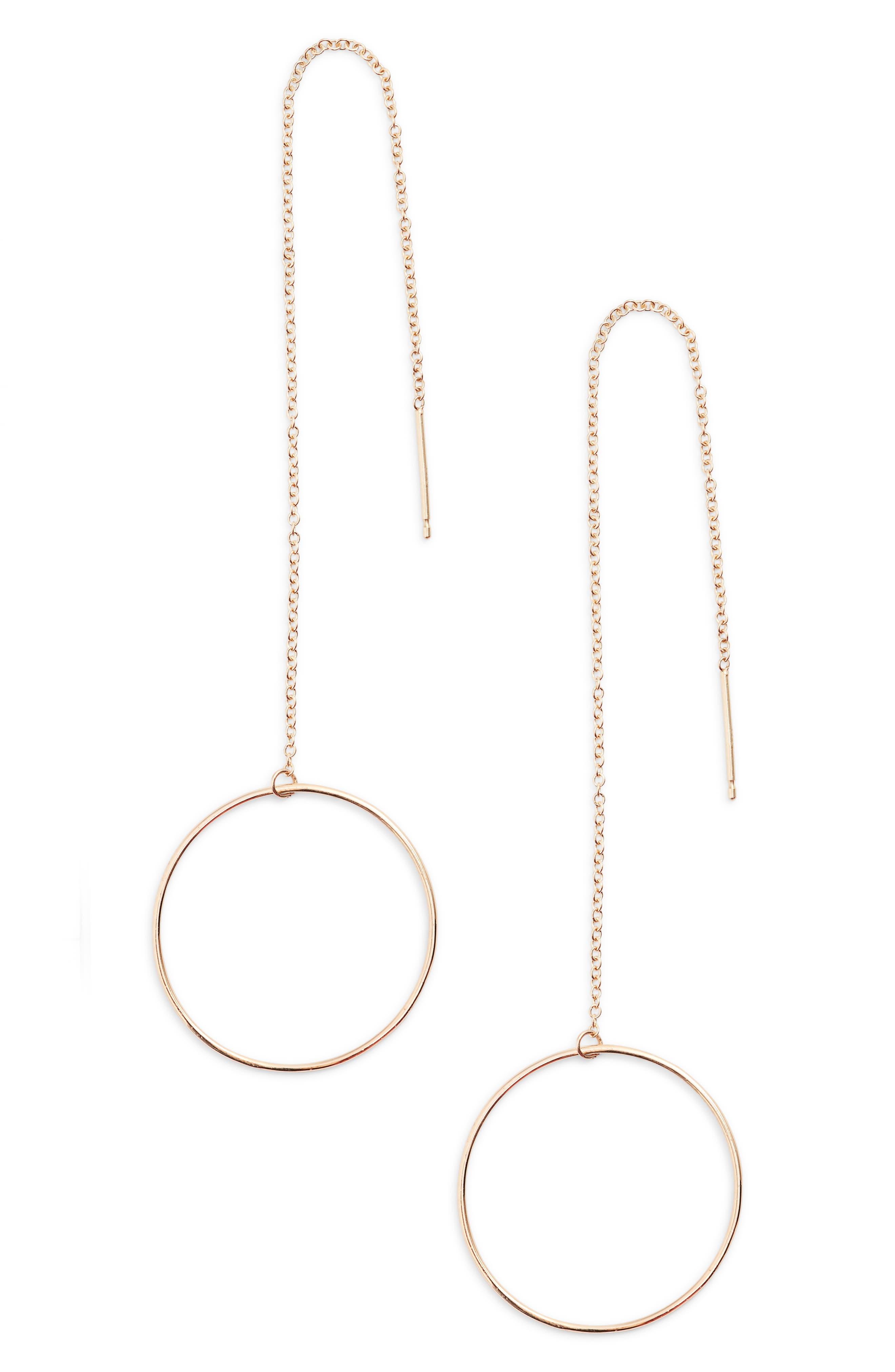 Zoe Chicco Open Circle Threader Earrings