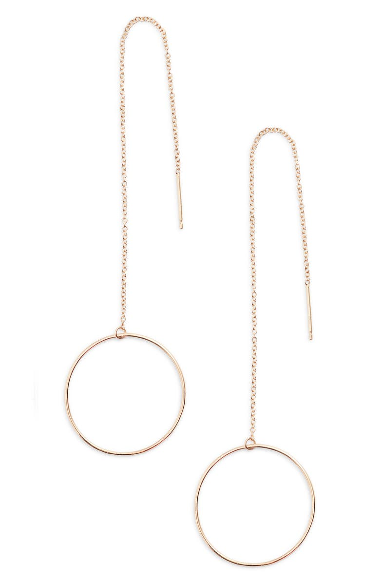 ZOË CHICCO Open Circle Threader Earrings, Main, color, GOLD