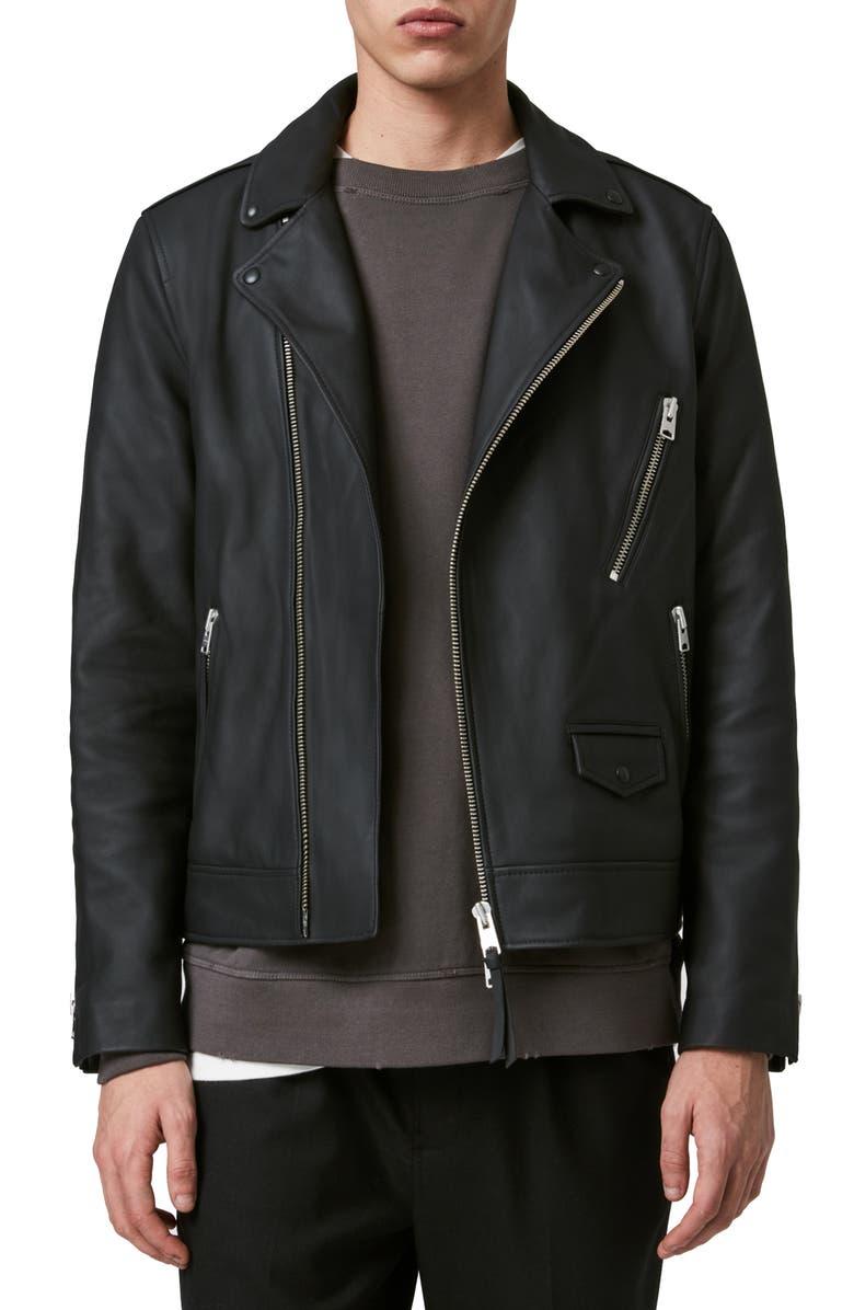 ALLSAINTS Bloc Leather Biker Jacket, Main, color, BLACK