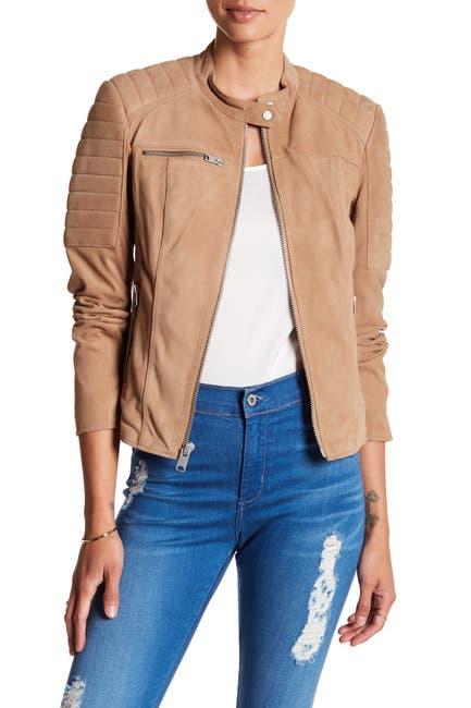 Image of Andrew Marc Lonny Suede Zip Moto Jacket