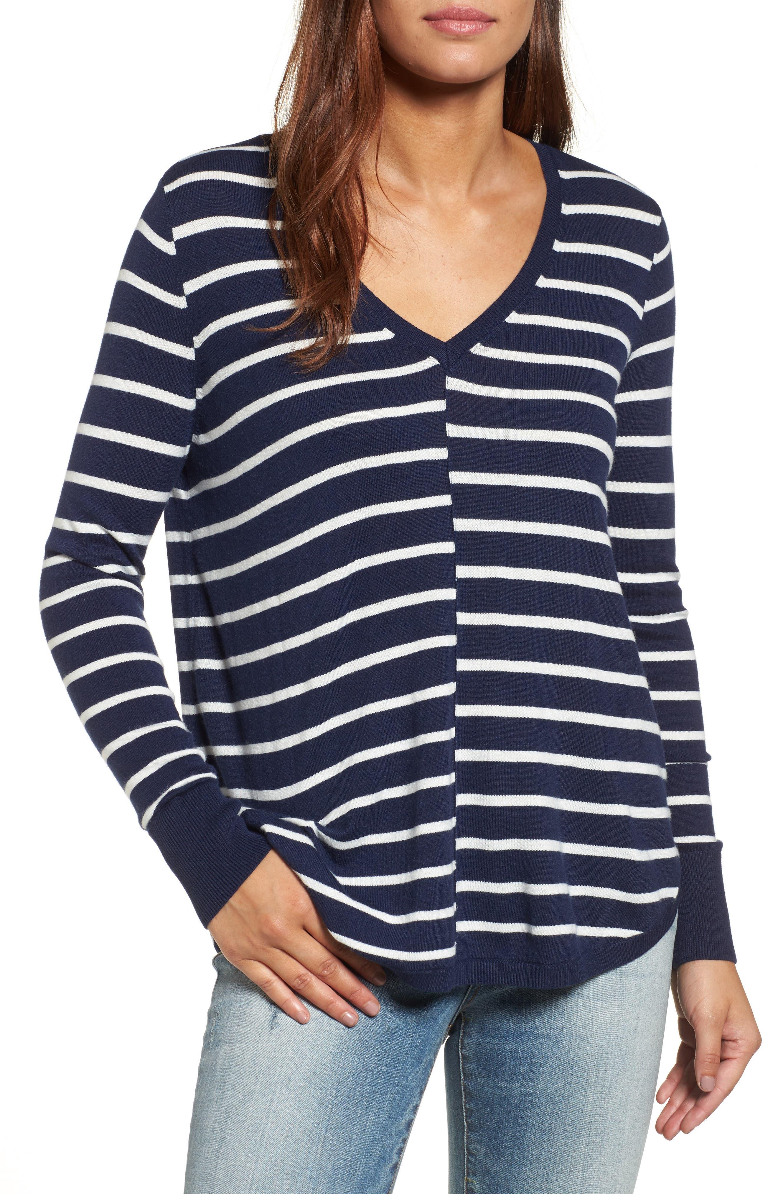 Caslon High-Low V-Neck Sweater, Blue