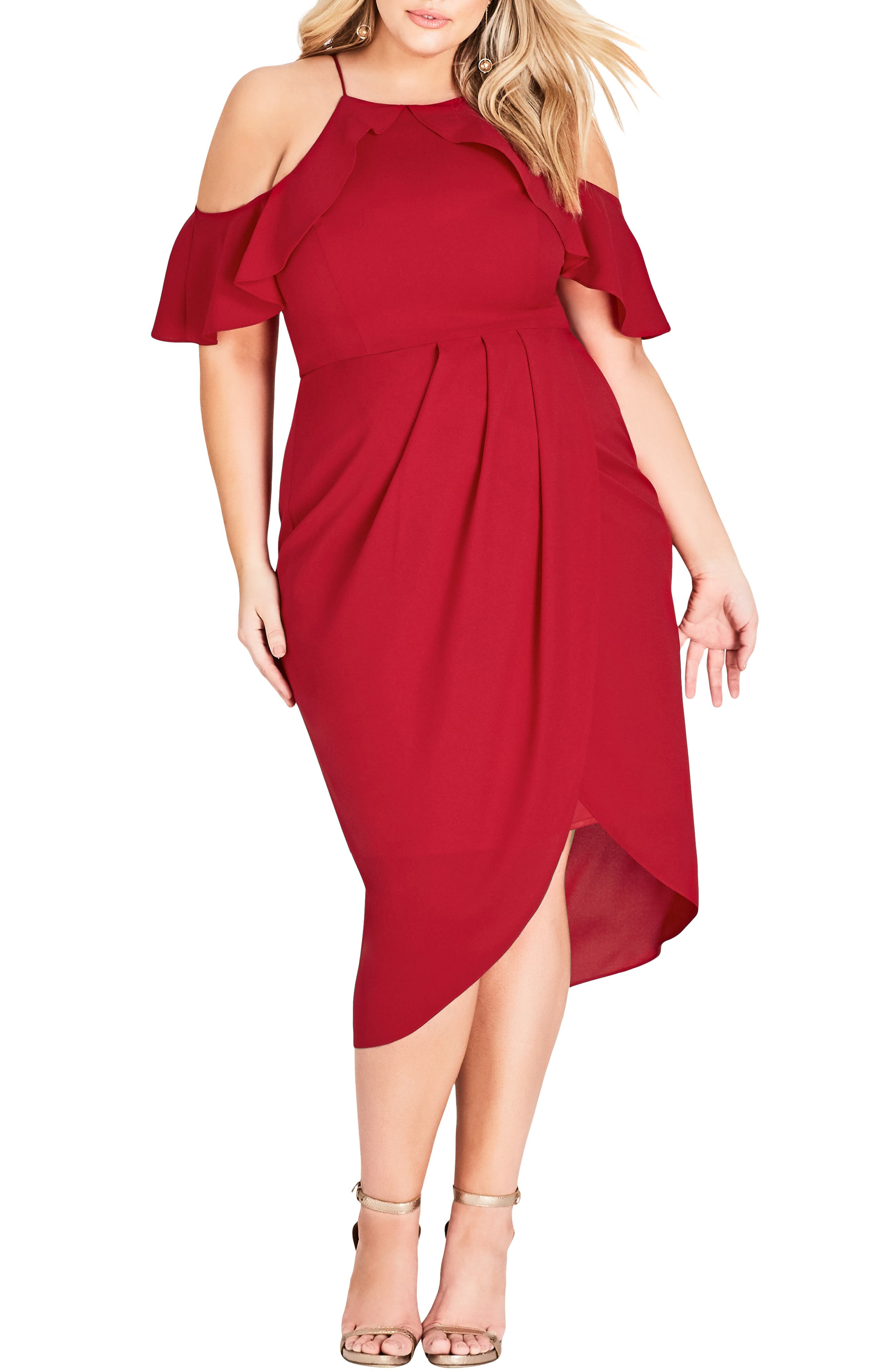 Plus Size City Chic Love Siren Cold Shoulder Dress, Red