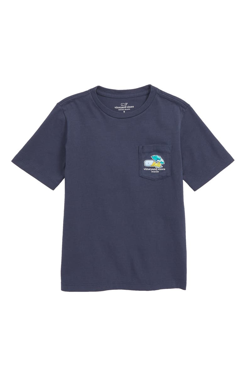 VINEYARD VINES Seattle Whale Pocket T-Shirt, Main, color, BLUE BLAZER