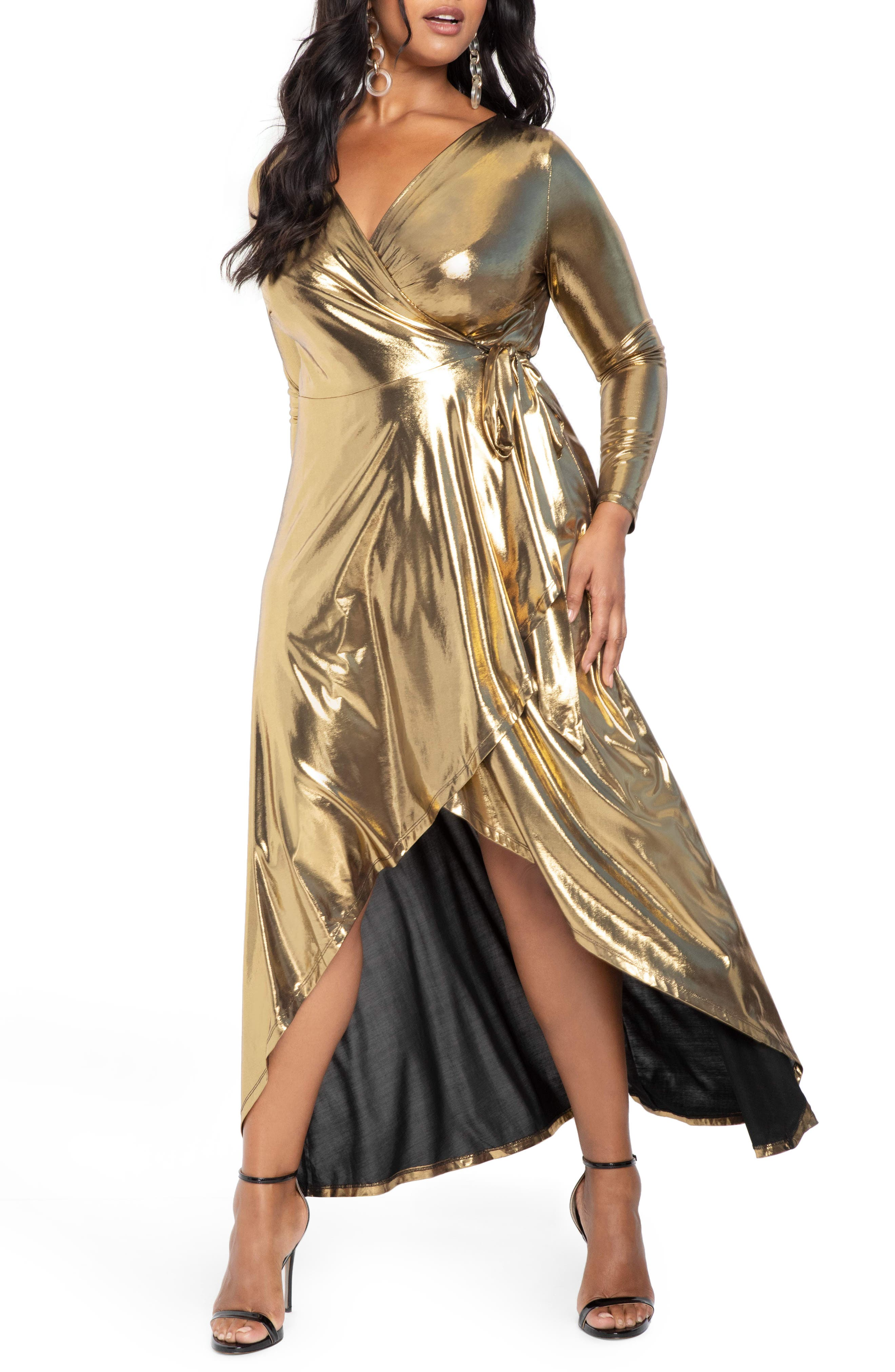 70s Prom, Formal, Evening, Party Dresses Plus Size Womens Eloquii Metallic Long Sleeve Jersey Wrap Maxi Dress $83.96 AT vintagedancer.com