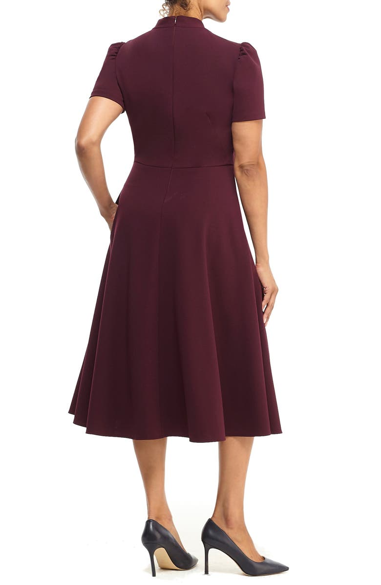 MAGGY LONDON Tie Neck A-Line Midi Dress, Main, color, PORT WINE