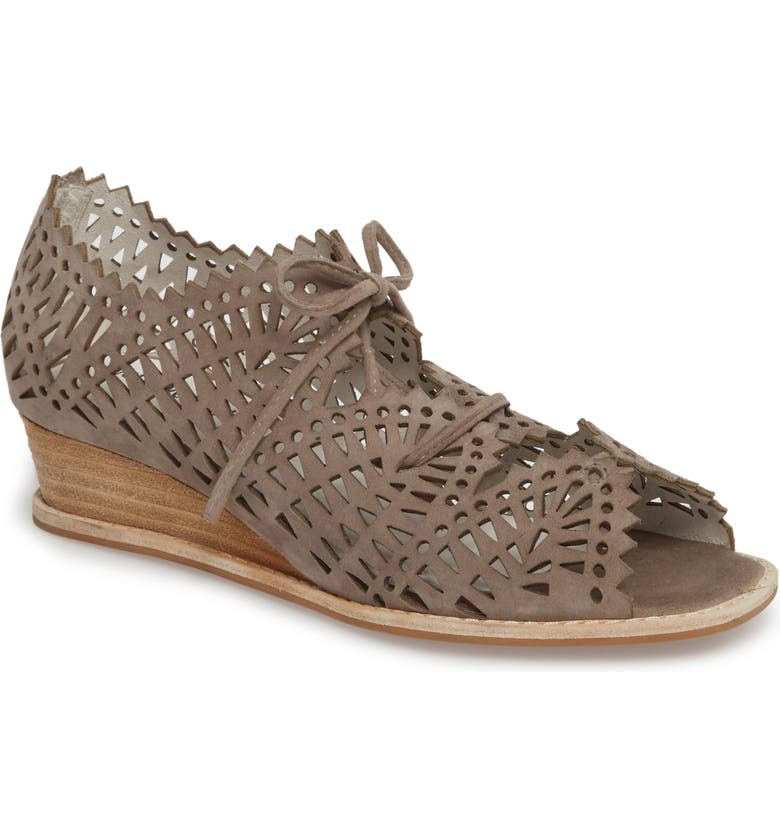 JEFFREY CAMPBELL Espejo Lace-Up Wedge, Main, color, TAUPE SUEDE