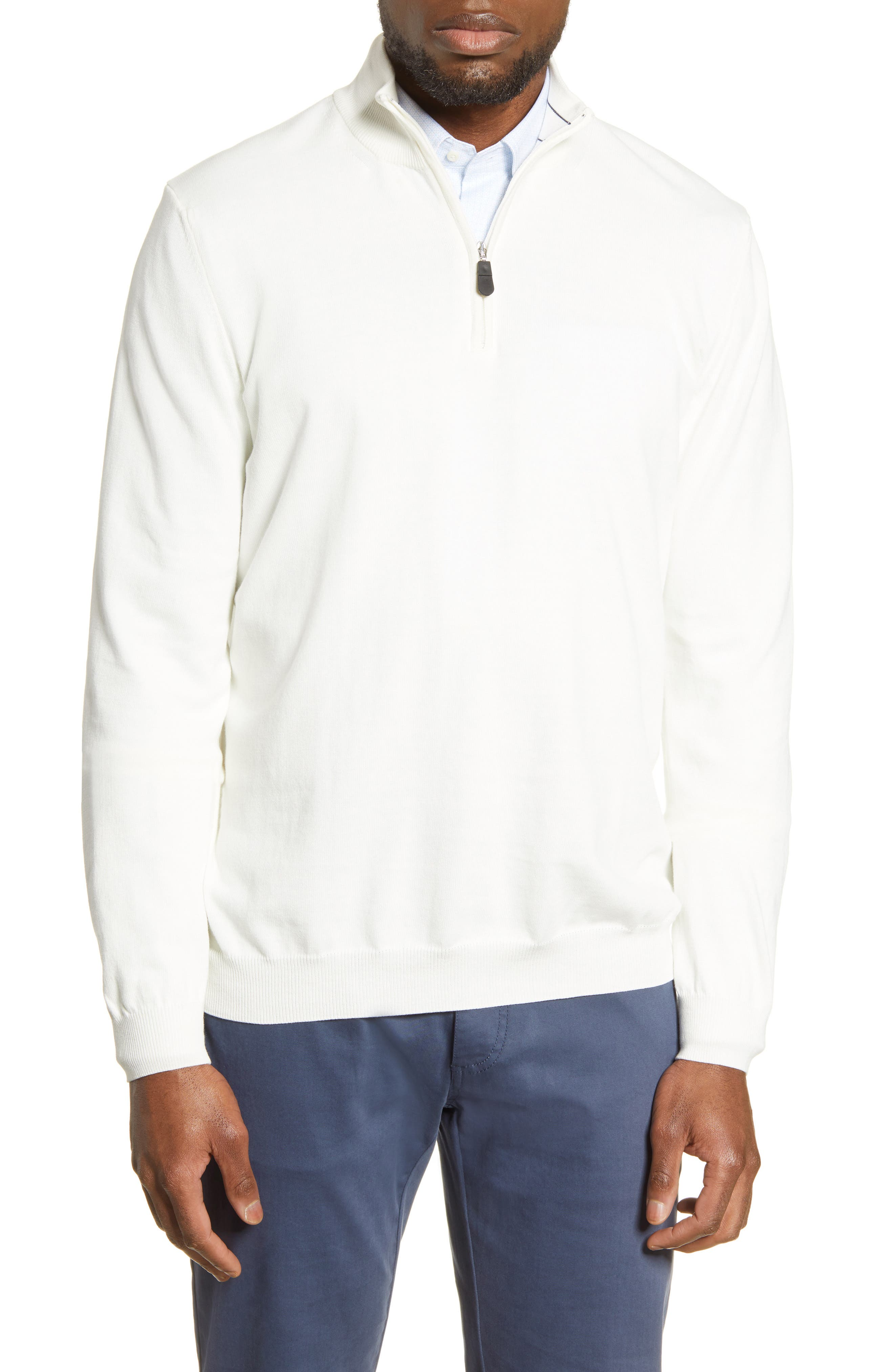 Lightweight cotton construction defines a versatile Italian pullover that is ideal for wearing with layered looks. Style Name: Bugatchi Cotton Half Zip Pullover. Style Number: 5989122 2. Available in stores.