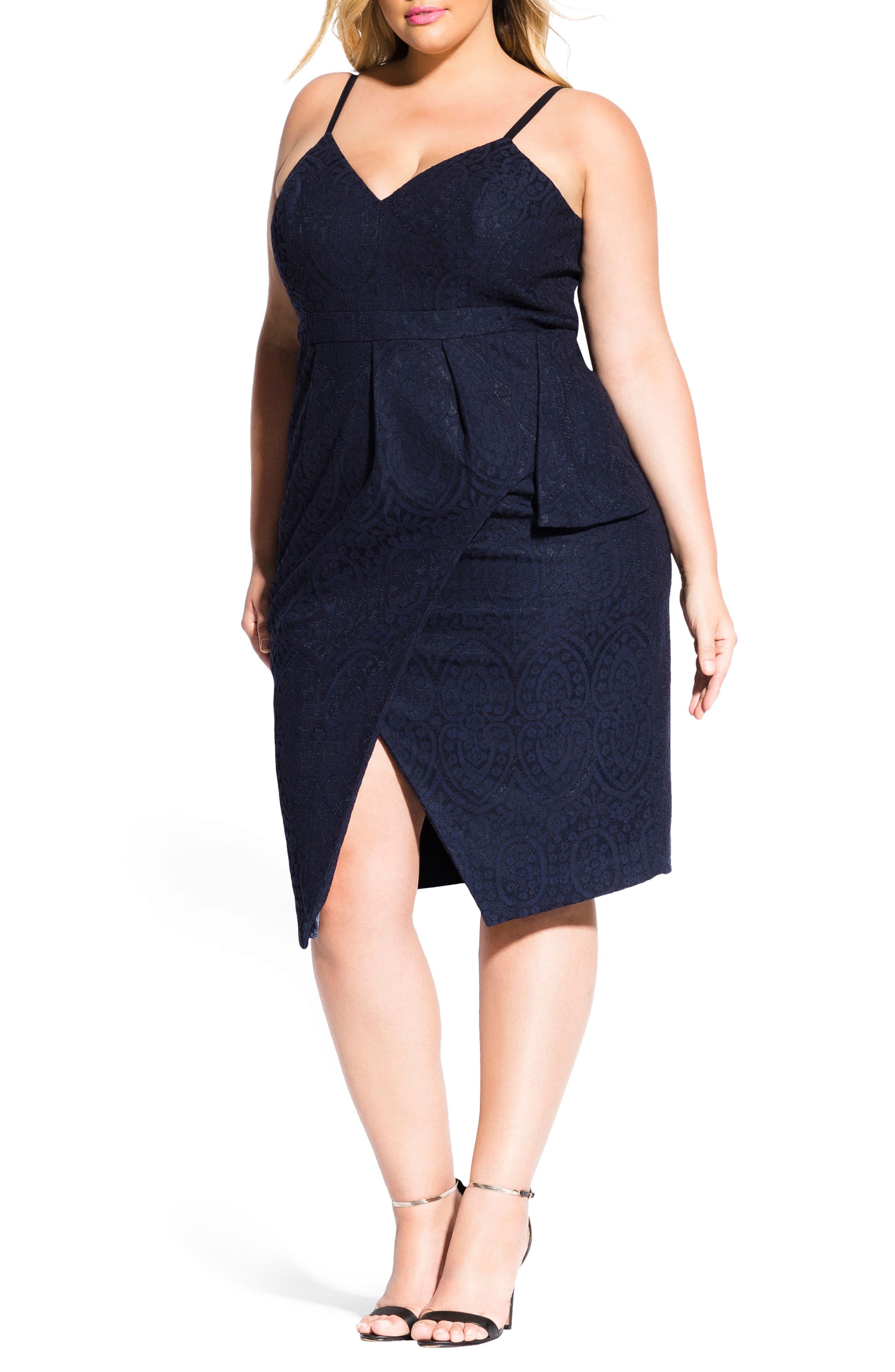 Plus Size City Chic Amare Lace Dress, Blue