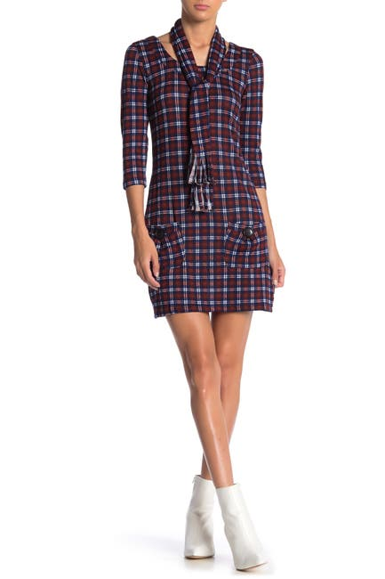 Image of Papillon Plaid 3/4 Sleeve Bodycon Sweater Dress