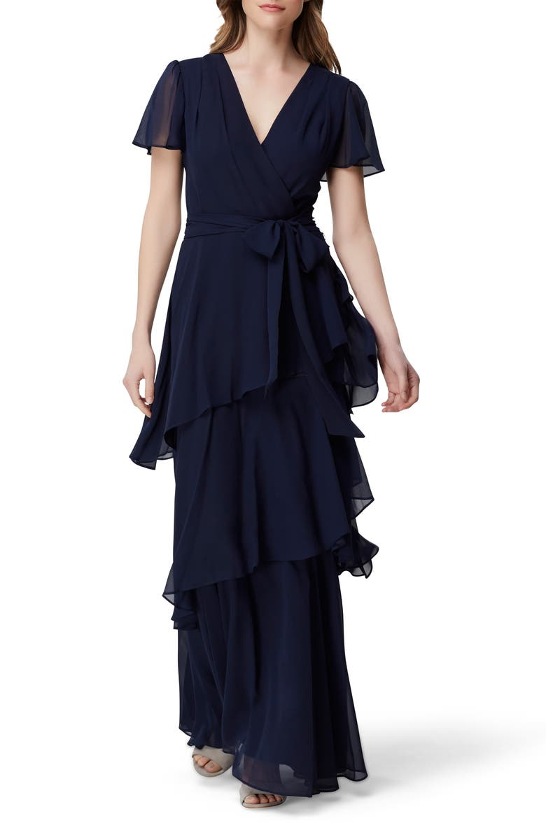 TAHARI Flutter Sleeve Tiered Ruffle Chiffon Evening Gown, Main, color, NAVY