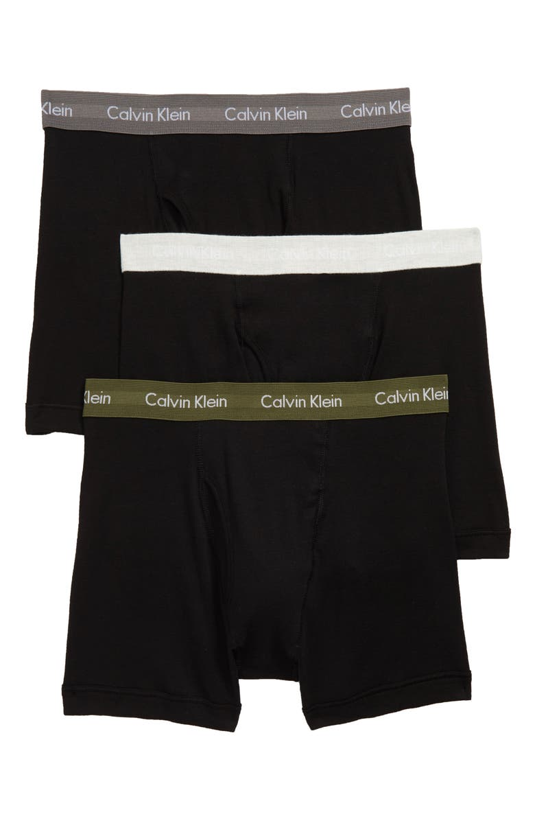 CALVIN KLEIN 3-Pack Boxer Briefs, Main, color, BLACK/ SNOW/ GREEN/ GREY