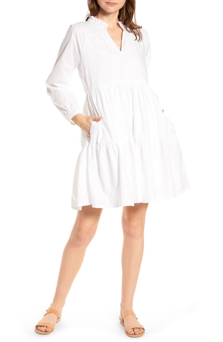 J.CREW Tiered Popover Cotton Poplin Dress, Main, color, WHITE