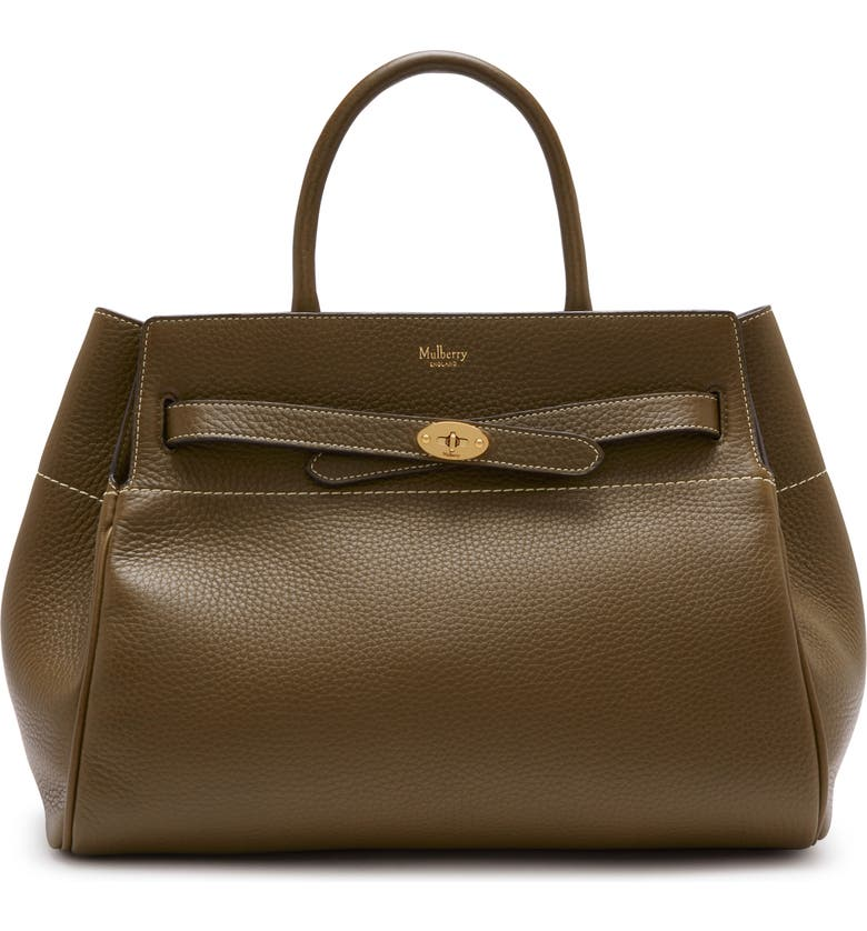 MULBERRY Belted Bayswater Grained Leather Satchel, Main, color, DARK PALM