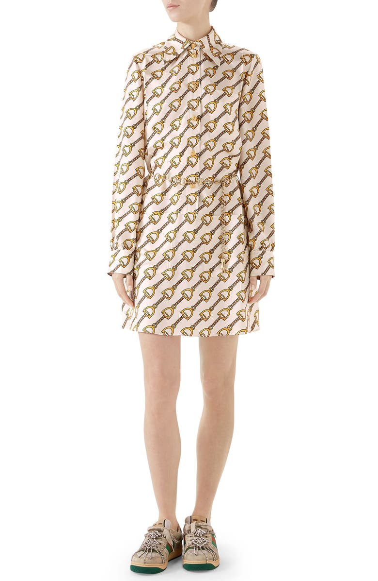GUCCI Stirrups Print Silk Twill Dress, Main, color, IVORY/ GOLD PRINTED