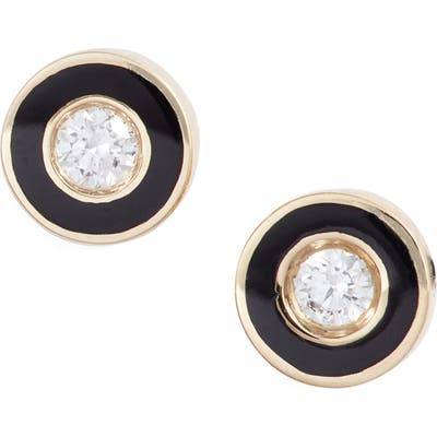 Ef Collection Enamel Diamond Stud Earrings