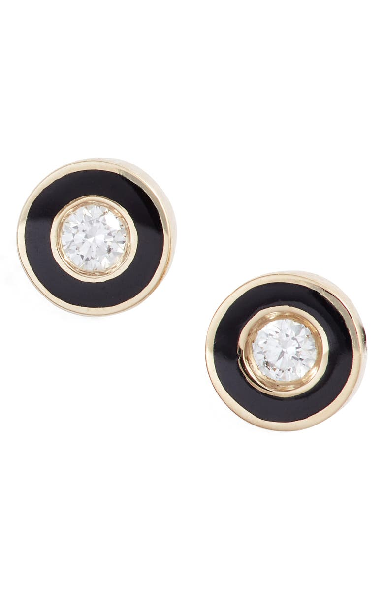 Enamel Diamond Stud Earrings by Ef Collection