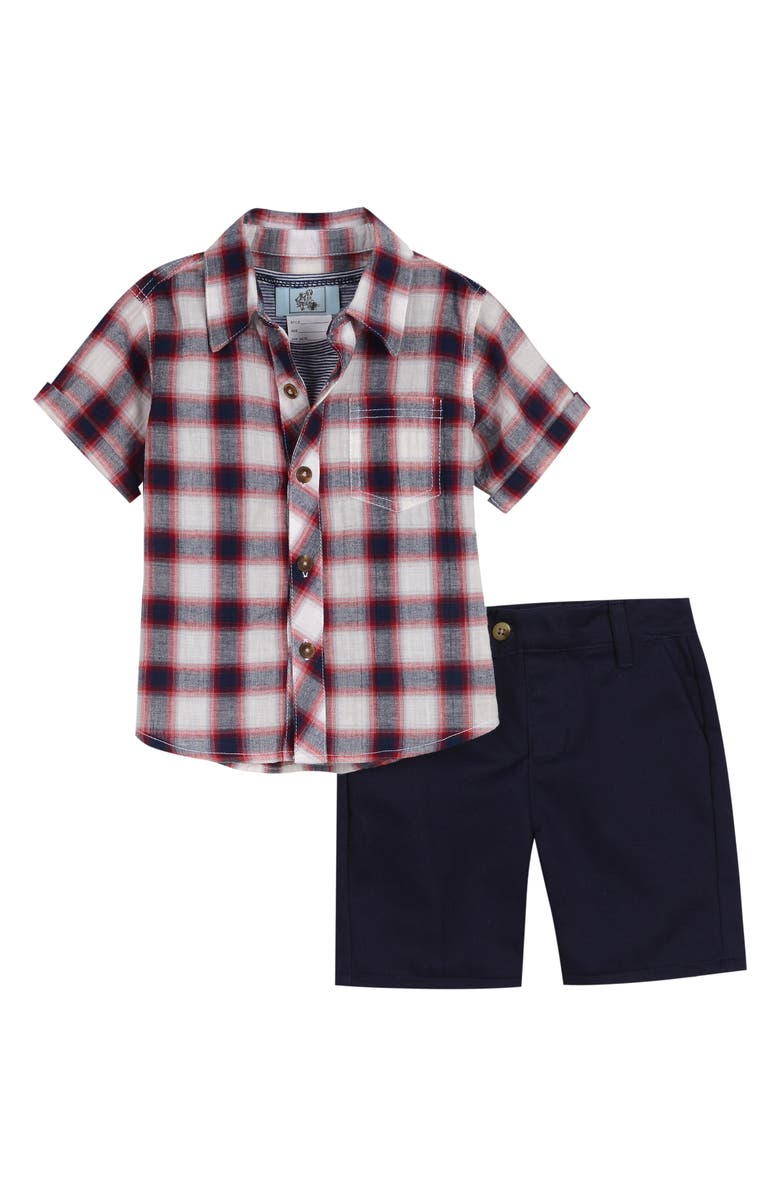 LITTLE BROTHER BY PIPPA & JULIE Plaid Shirt, Stripe Tank Top & Shorts Set, Main, color, 601