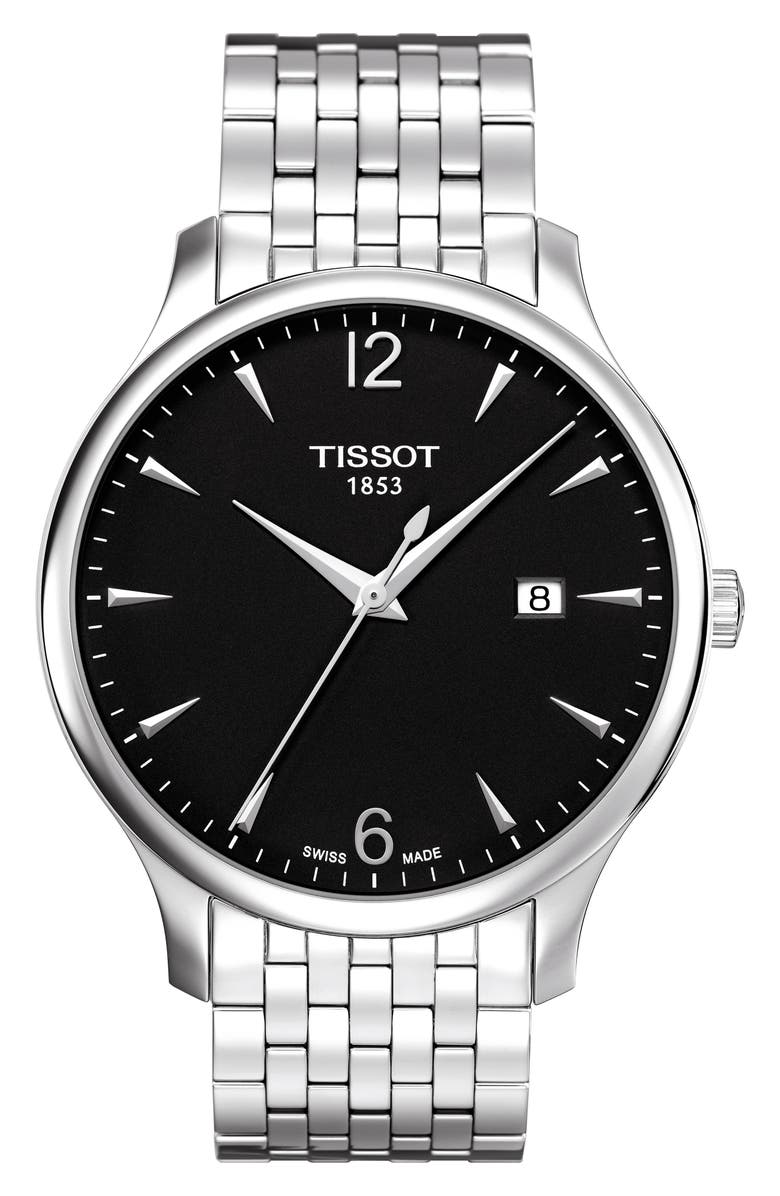 TISSOT Tradition Bracelet Watch, 42mm, Main, color, SILVER/ BLACK/ SILVER