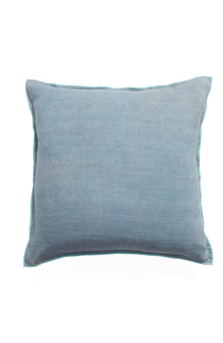 TREASURE & BOND Slub Linen & Cotton Outdoor Pillow, Main, color, BLUE SMOKE