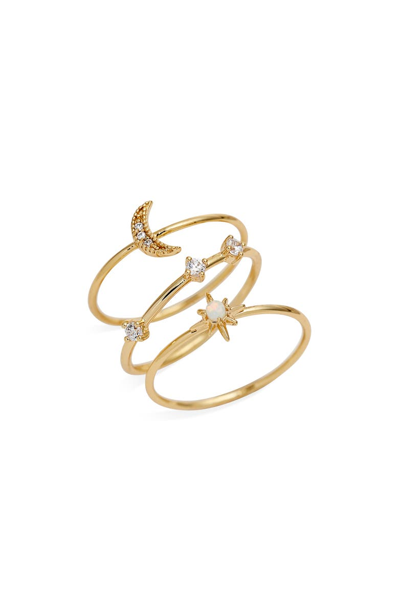 GORJANA Luna Set of 3 Rings, Main, color, GOLD