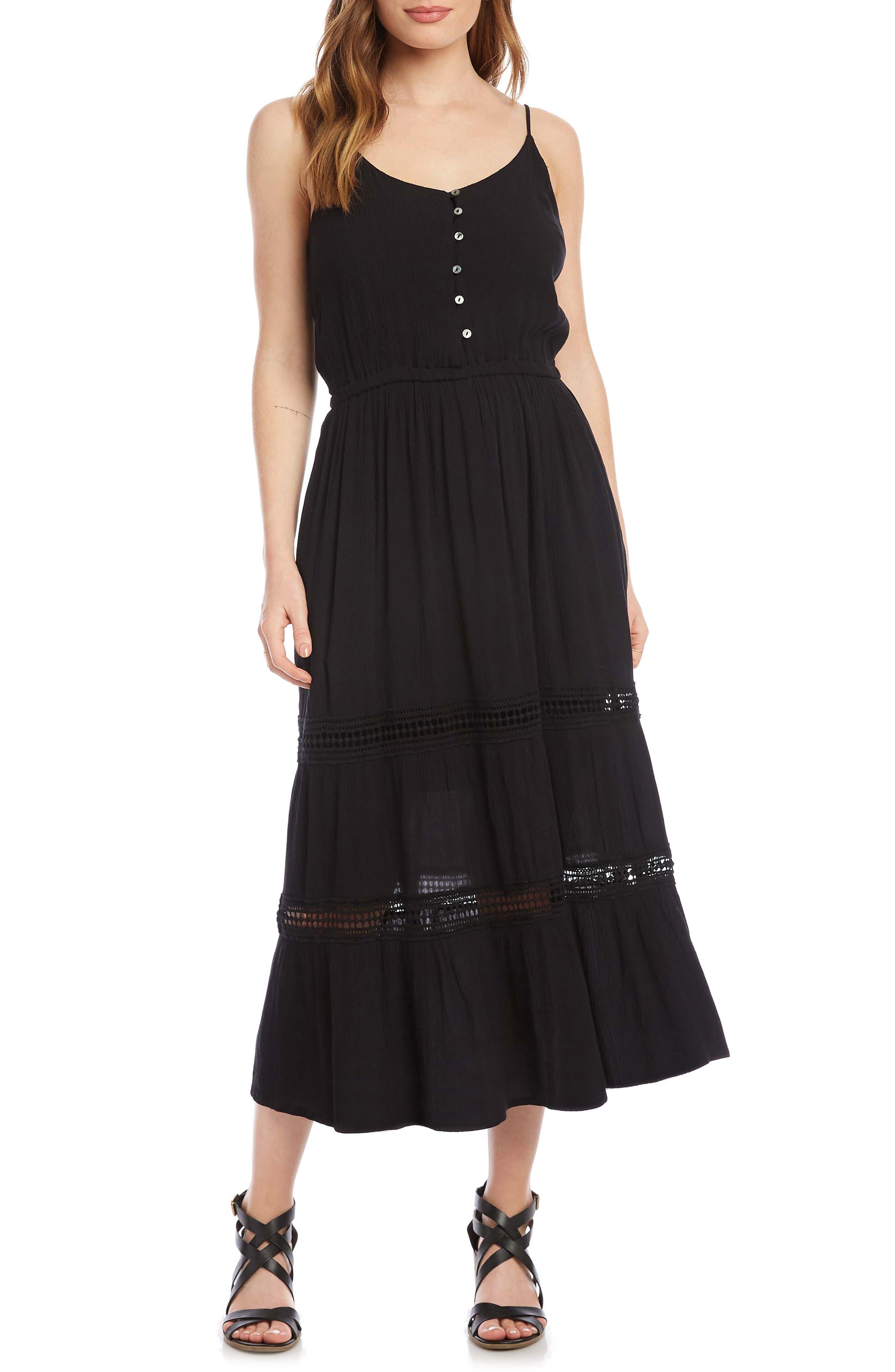 Sleeveless Lace Inset Midi Dress