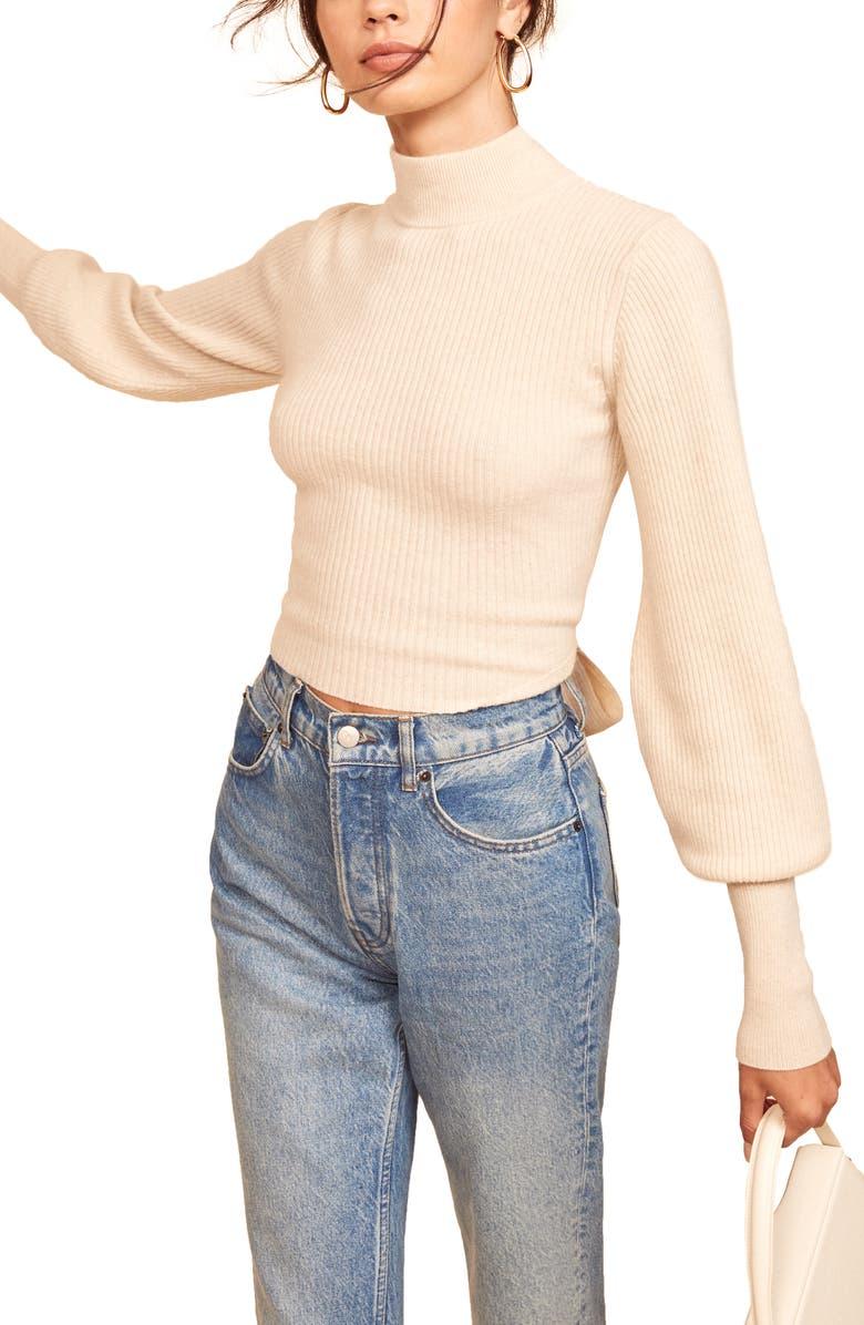 REFORMATION Osteria Open Back Cashmere Sweater, Main, color, GOSSAMER