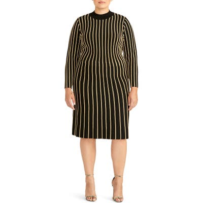 Plus Size Rachel Roy Collection Vertical Stripe Dress, Black
