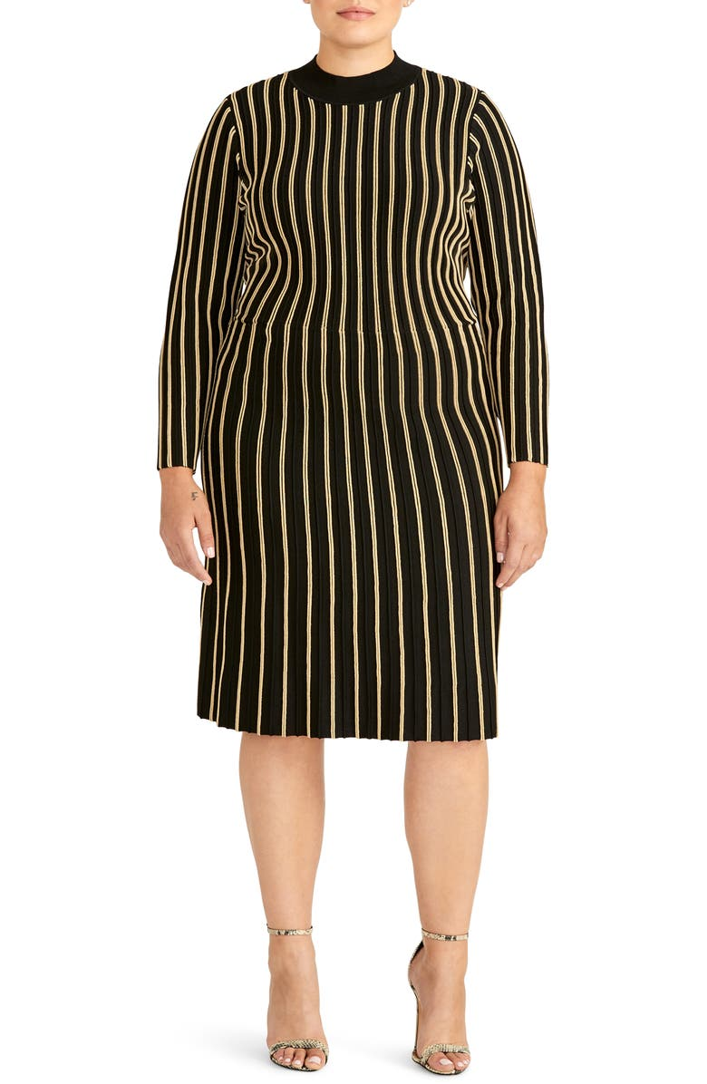 RACHEL ROY COLLECTION Vertical Stripe Dress, Main, color, BLACK/ GOLD