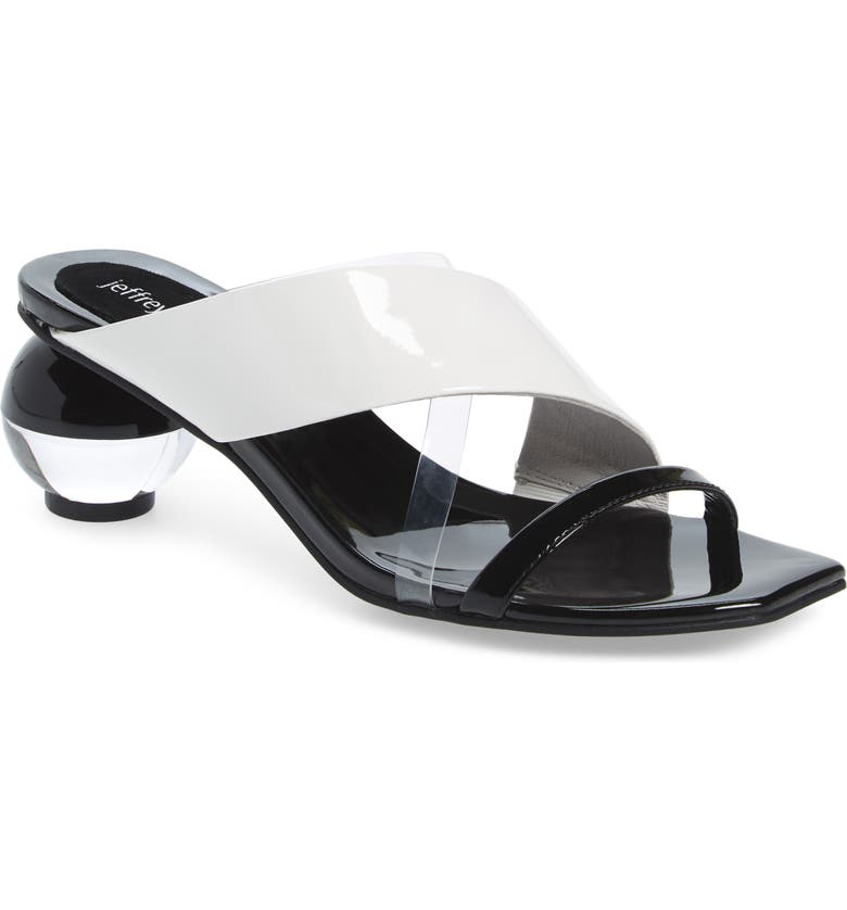 JEFFREY CAMPBELL Laterall Ball Heel Slide Sandal, Main, color, BLACK PATENT/ WHITE/ CLEAR