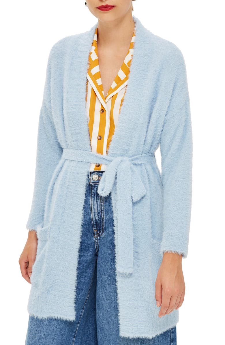 TOPSHOP Fluffy Chenille Cardigan, Main, color, 450