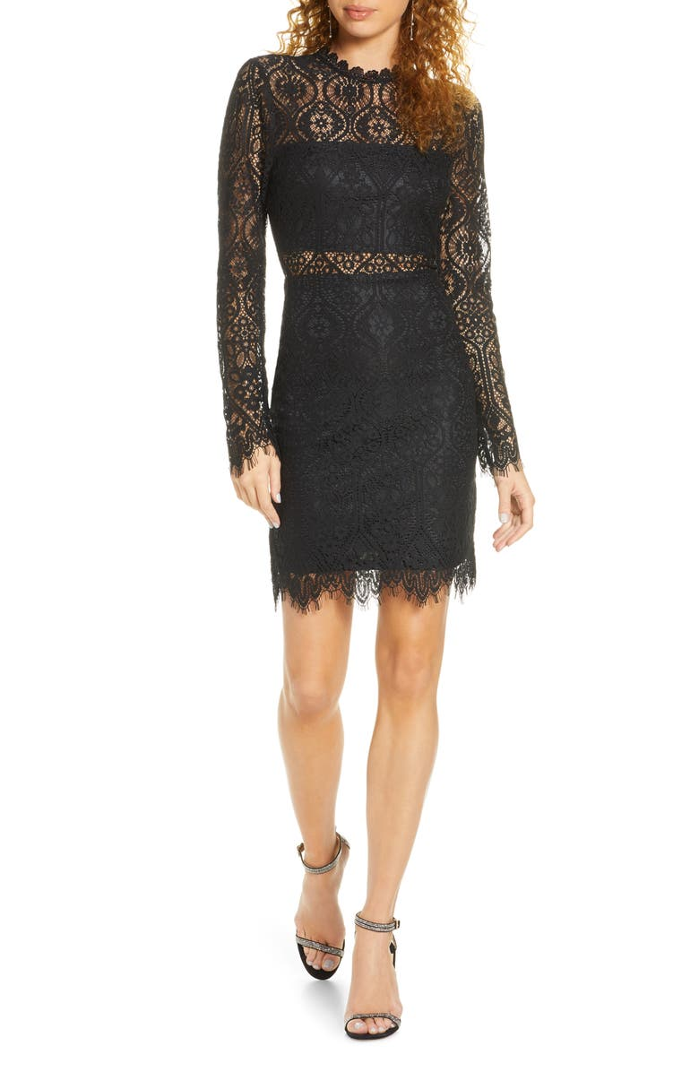 LULUS Appetite for Seduction Lace Long Sleeve Dress, Main, color, BLACK