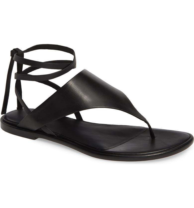 VINCE Eastwood V-Strap Wraparound Sandal, Main, color, BLACK