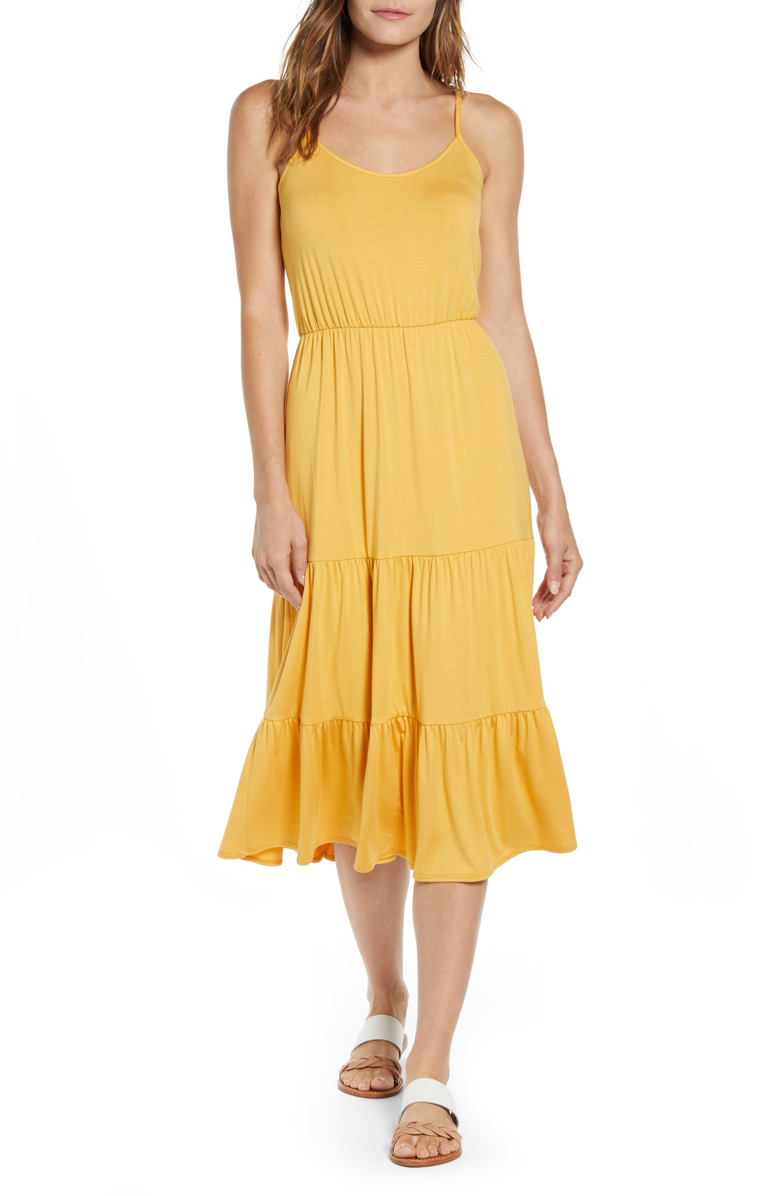 Petite Gibson X The Motherchic Sunset Tiered Knit Maxi Dress, Yellow