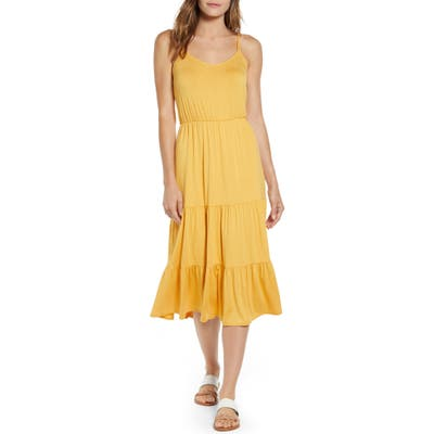 Petite Gibson X The Motherchic Sunset Tiered Knit Maxi Dress, Yellow