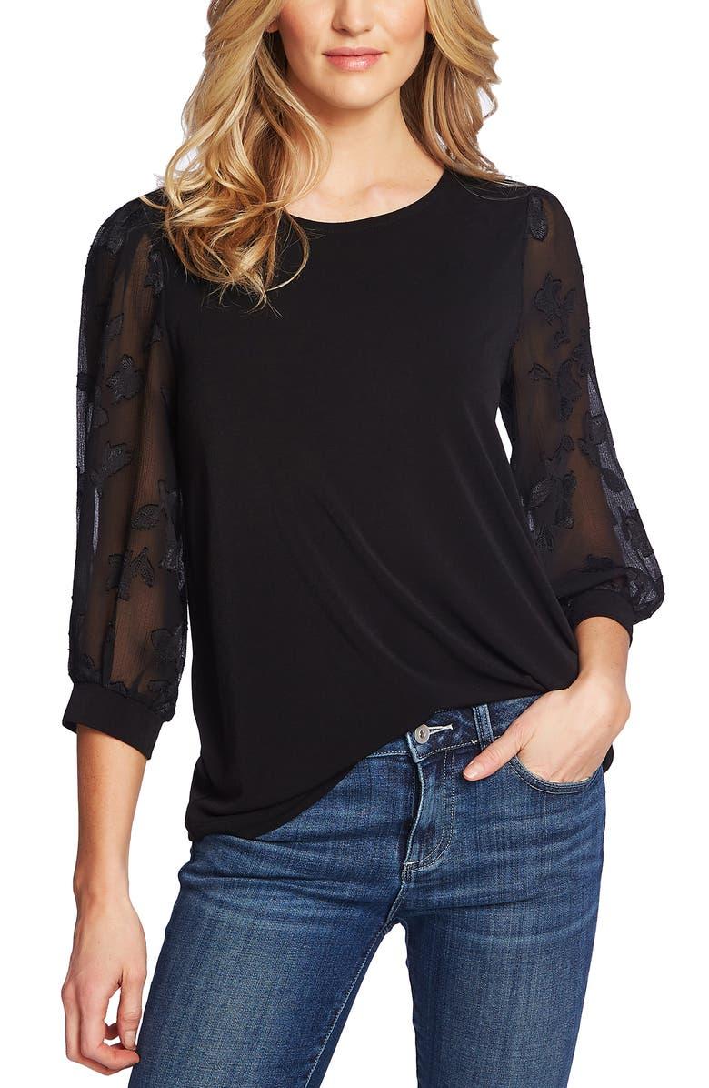CECE Lace Sleeve Stretch Crepe Blouse, Main, color, RICH BLACK