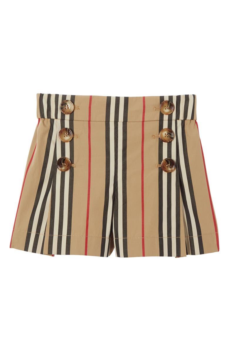 BURBERRY Tamara Icon Stripe Sailor Shorts, Main, color, ARCHIVE BEIGE