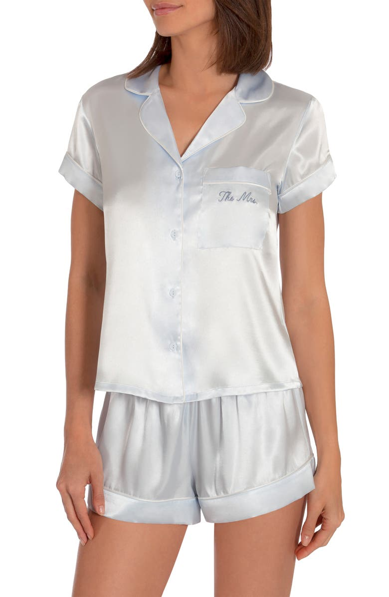 IN BLOOM BY JONQUIL The Mrs Satin Short Pajamas, Main, color, BLUE- THE MRS.