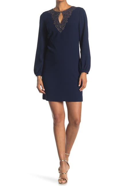 Image of Trina Turk Tangle Front Keyhole Puff Sleeve Dress