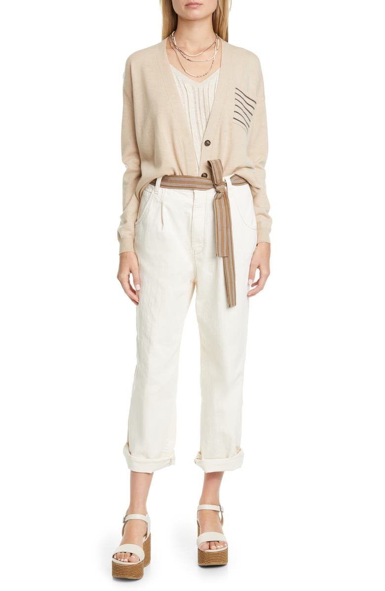 BRUNELLO CUCINELLI Brunello Cucinello Belted Boyfriend Jeans, Main, color, WHITE