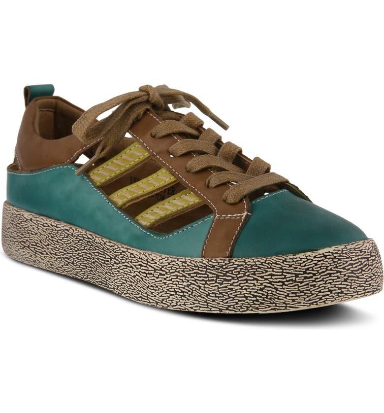 L'ARTISTE Porscha Sneaker, Main, color, TURQUOISE MULTI LEATHER