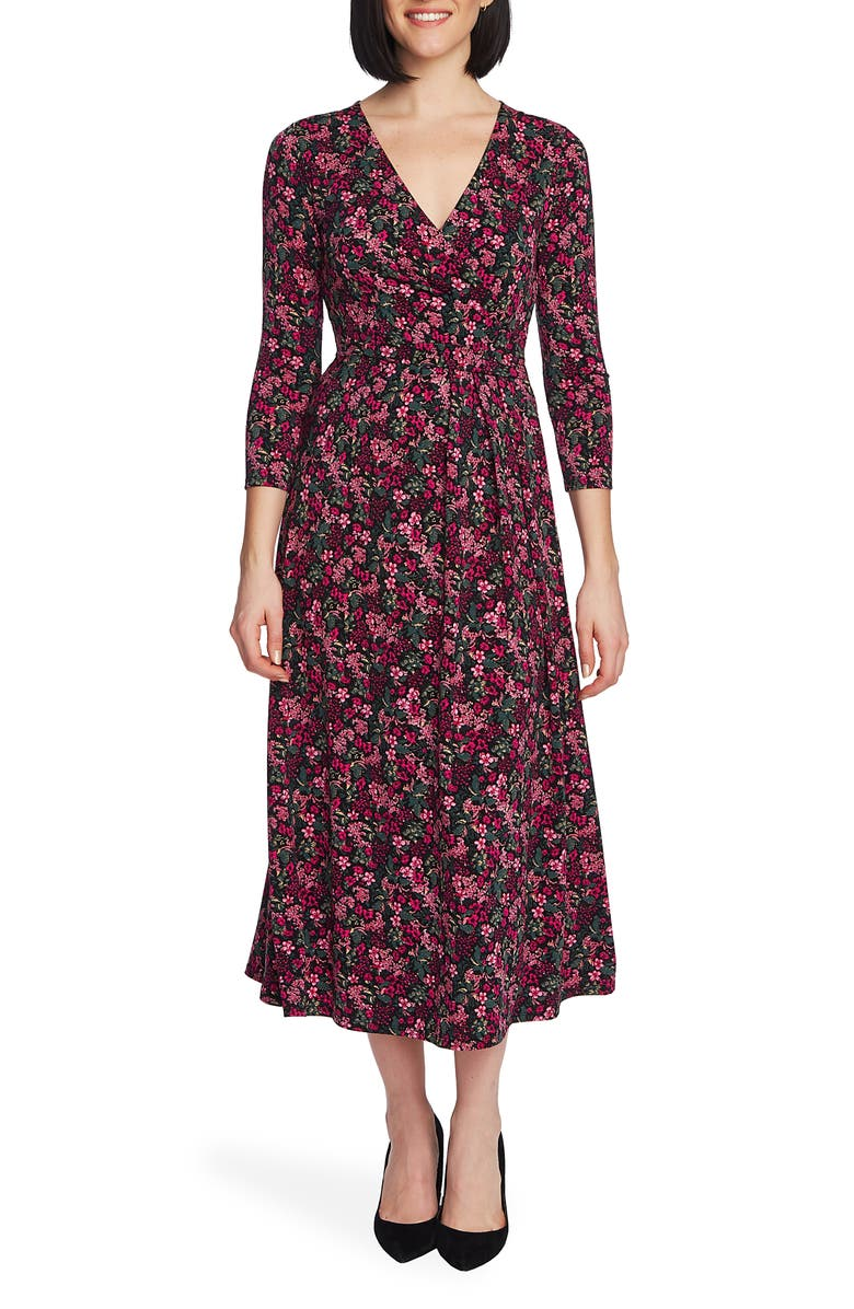 CHAUS Meadow Garden Wrap Midi Dress, Main, color, RICH BLACK